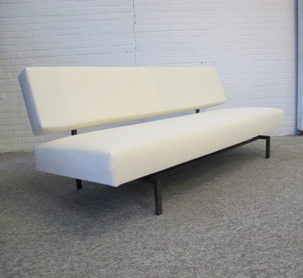 Vintage white velvet sofa bed, 1960s