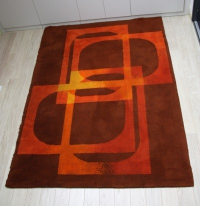 Vintage carpet in wool with graphic design, 1960's