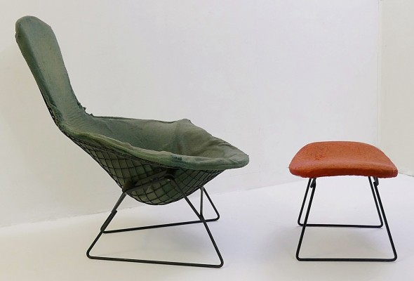 Bertoia 'Bird' Chair & Ottoman With Original Cover