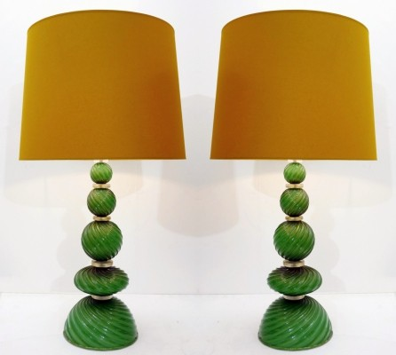 Pair Of Green Glass Murano Lamps