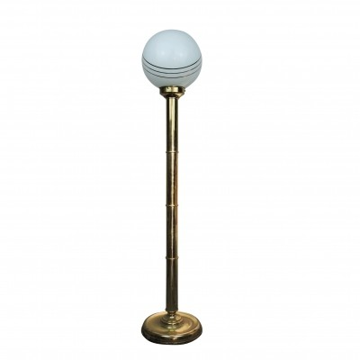 Brass Floor Lamp with White Globe, 1980s