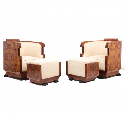 Pair of Original Walnut Art Deco Armchairs & Stools, Italy c1920