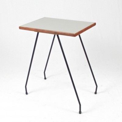 High side table with grey formica top