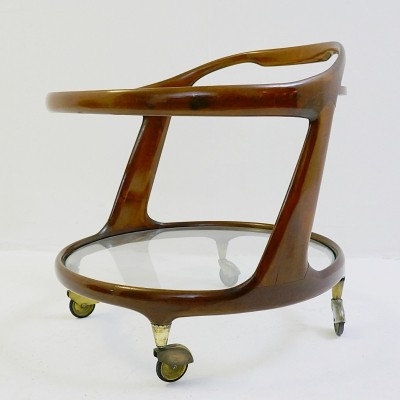 Cesare Lacca Oval Bar Cart, Italy 1950s