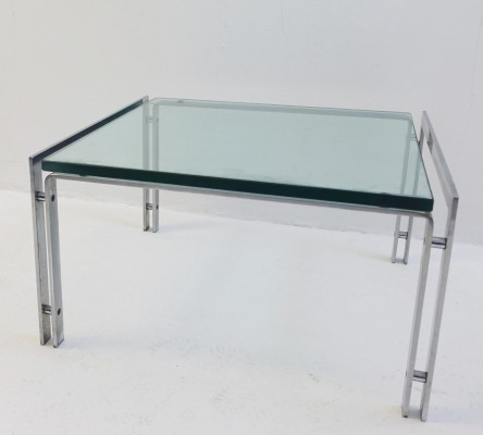 Pair Of Glass And Chrome 'M1' End Tables for Metaform by Hank Kwint