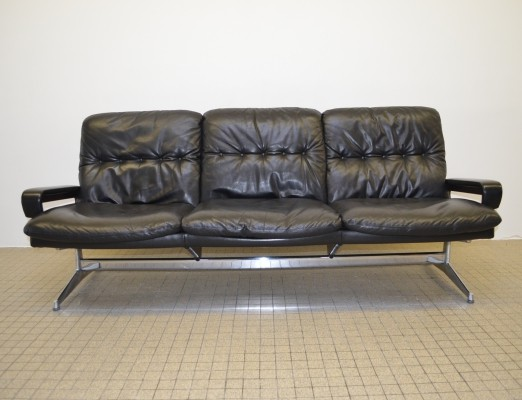 Leather 3-seater sofa by André Vandenbeuck for Strässle