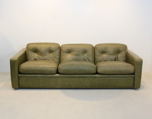 Three-Seat Sofa by Poltrona Frau in Olive green leather, Italy 1970s