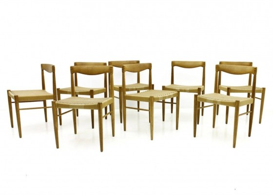Set of Eight H. W. Klein Oak Dining Room Chairs for Bramin, Denmark 1960