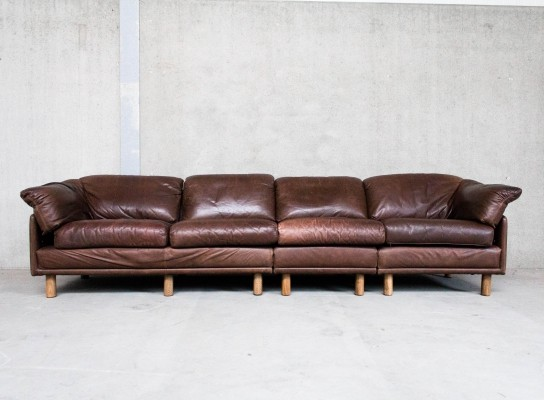 Brown Leather Modular Sofa by Leolux