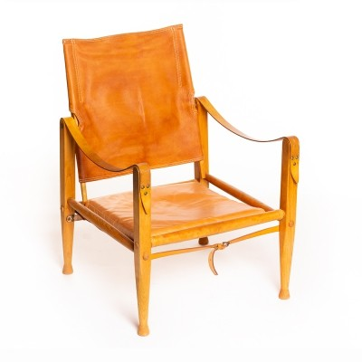 Vintage Danish Safari chair in tan leather by Kaare Klint for Rud Rasmussen