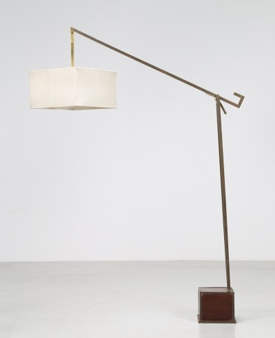 Italian solid wood, brass & fabric floor lamp, 1960s