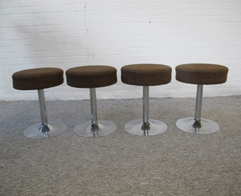 Four chrome Swivel Stools with Tulip Foot, 1970s