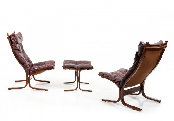 Siesta High Back Lounge Chairs & Ottoman by Ingmar Relling for Westnofa