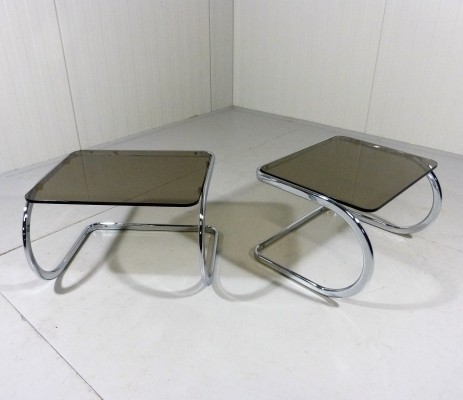 Vintage Side Tables in Chrome & Smoked Glass