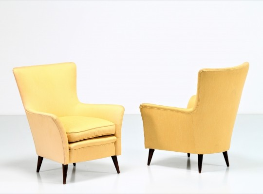 Pair of 50s armchairs in yellow Italian cotton