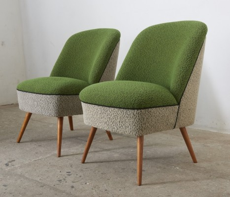Pair of Green & Grey-White Cocktail Club Chairs, Switzerland 1950s