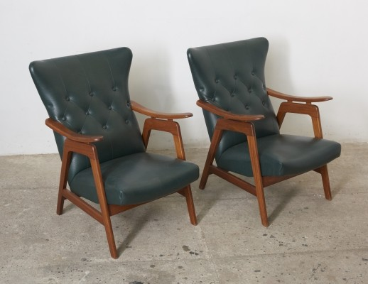 Pair of Dutch Design Wing Back Chairs, 1960s