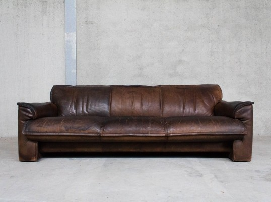 Patinated Brown Vintage Leather Sofa by Leolux