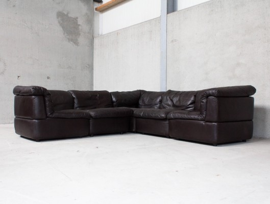Modular Sofa in Dark Brown Leather