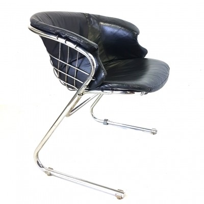 Wireframe chair with leather cushion by Gastone Rinaldi for Thema Italy, 1970s