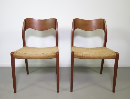 Set of 2 teak 'Model 71' dining chairs by Niels Otto Møller, 1950s