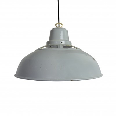 Vintage Industrial Grey Enamel Pendant Light, 1950s