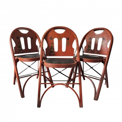 Set of 3 Red Folding Chairs by Louis Rastetter & Sons, 1920s