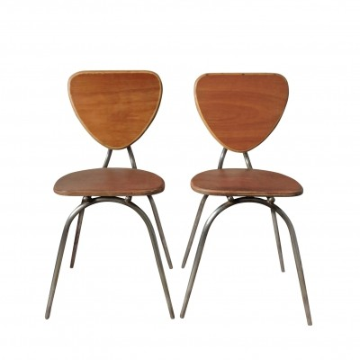 Pair of Curved Wood & Metal Chairs, 1960s