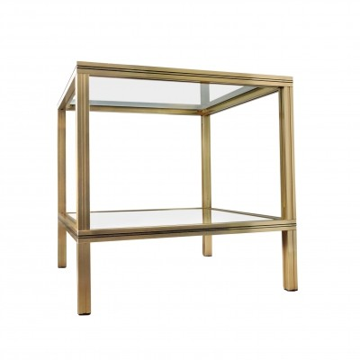 Square Brass & Glass Side Table by Pierre Vandel, 1970s