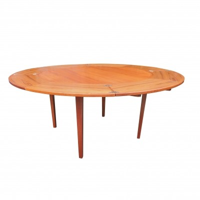Mid-Century Flip-Flap Teak Dining Table from Dyrlund, 1950s