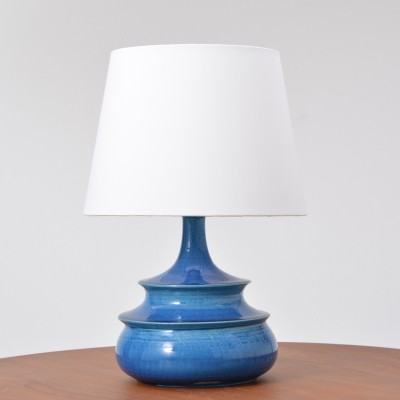 Rare 1960ies Turquoise Glazed Danish Vintage Table Lamp by Nils Kähler
