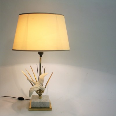 Vintage brass bird table lamp, 1970s