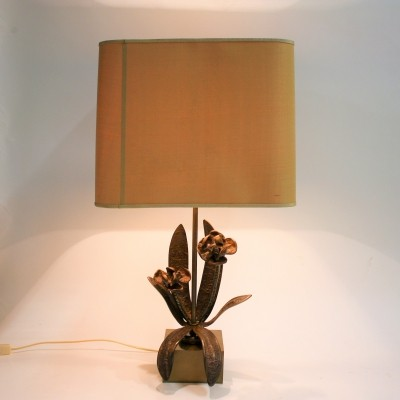 Bronze flower table lamp, 1960s