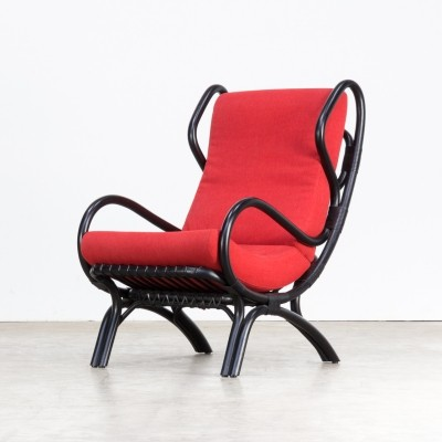 Gio Ponti 'bp16' black bamboo lounge chair for Pierantonio Bonacino