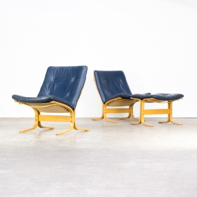 Pair of Ingmar Relling 'siesta' chairs with ottoman for Westnofa, 1970s