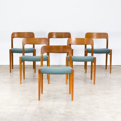 Set of 6 Niels O. Møller 'model 75' dining chairs for J.L. Møller, 1960s