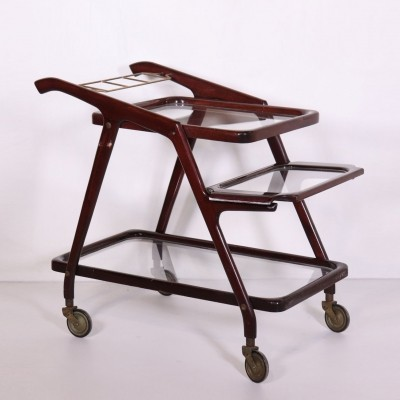 Vintage Service Cart in Stained Beech, Italy 1950s