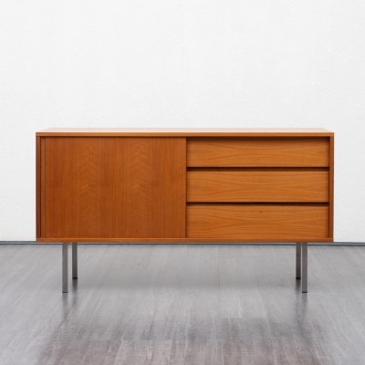 Small 1970s walnut sideboard with chromed feet