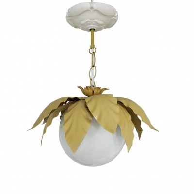 Vintage gold & white leaf pendant lamp in glass & metal, 1970
