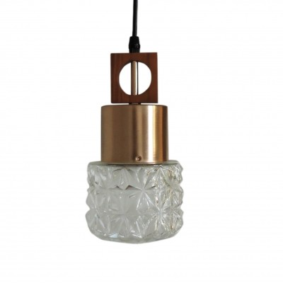 Vintage glass & copper pendant lamp, 1970