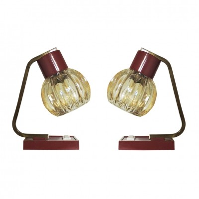 Pair of French Red Desk Lamps, 1950s