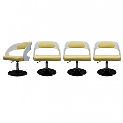 Set of 4 White-Painted Wooden Salon Chairs with Yellow Faux Hide Covers, 1960s