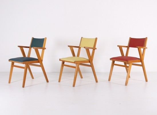 Set of three 1950 French armchairs