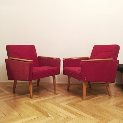 Pair of 'pied de poule' & 'dogtooth' Armchairs, 1960s
