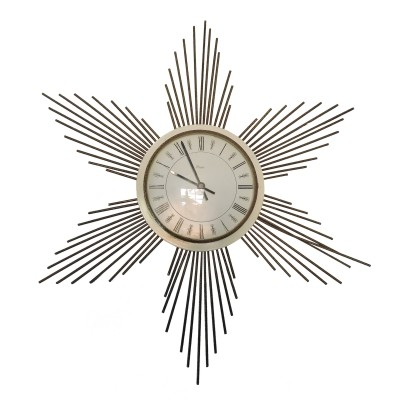 Paico Sunburst metal wall clock, 1960s