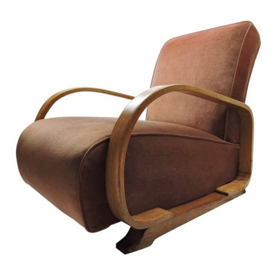Vintage armchair for Heals & Sons in oakwood & pink fabric, 1930