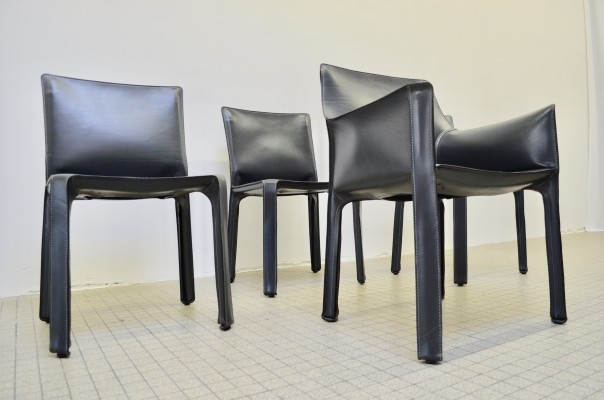 Vintage design Cassina cab 412 & 413 dinner chairs by Mario Bellini