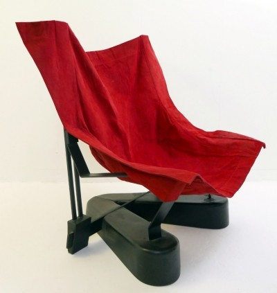 'V' Foot Metal Structure And Red Suede Armchair