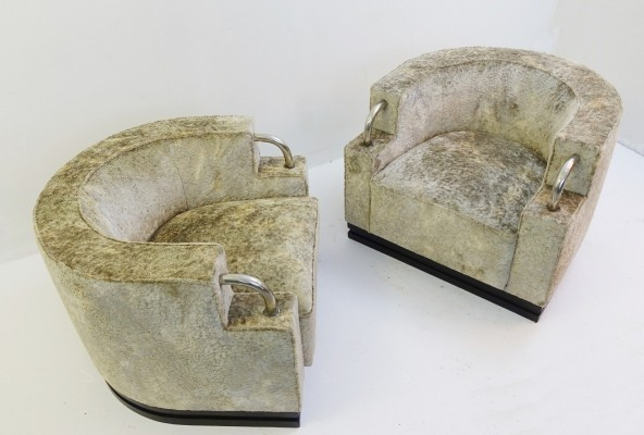 Pair Of Art Deco Armchairs with Velvet Upholstery