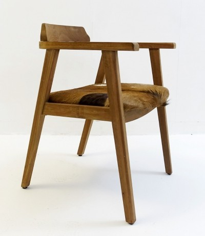 Wood & Cowhide Armchair, 1960s
